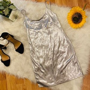Holografic silver strappy dress